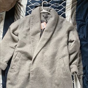 Gray full length polyester trench coat